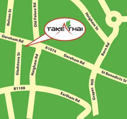 Map to Take Thai - Norwich Thai takeaway